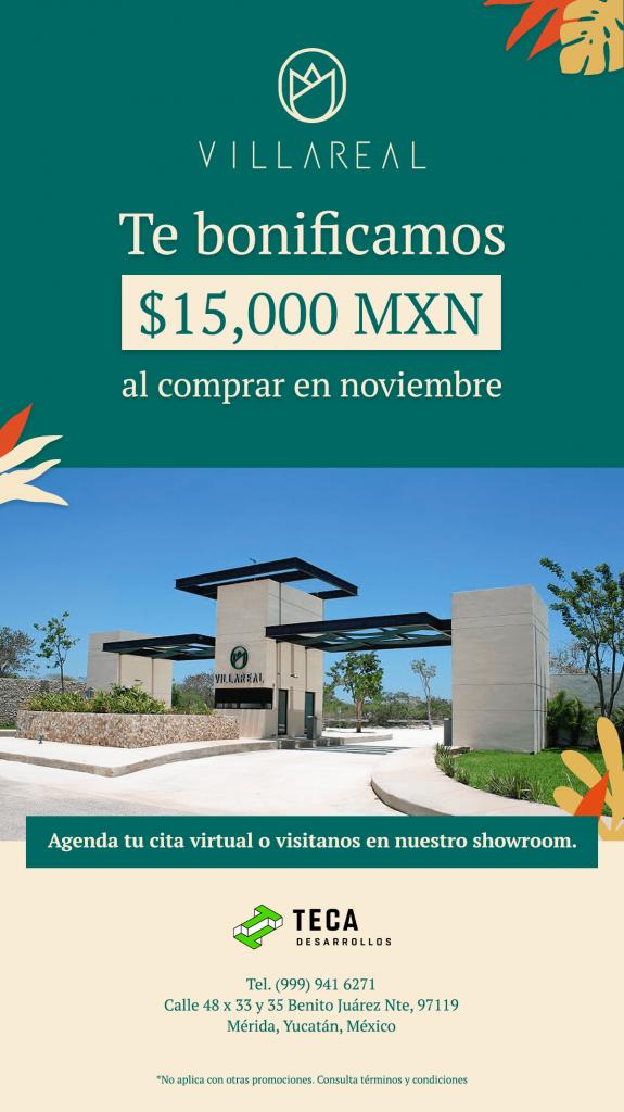 Promoción VillaReal Bono de $15,000 pesos